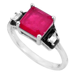 925 sterling silver 3.91cts red ruby (lab) topaz black enamel ring size 7 c2632
