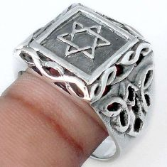 11.06gms 925 STERLING SILVER STAR OF DAVID MENS RING JEWELRY SIZE 10.5 H9487