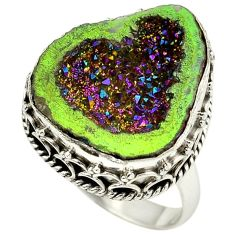 925 sterling silver titanium druzy fancy ring jewelry size 8.5 h84399