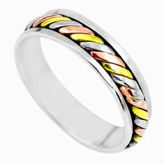 925 sterling silver 6.03gms victorian two tone spinner band ring size 13.5 c1200