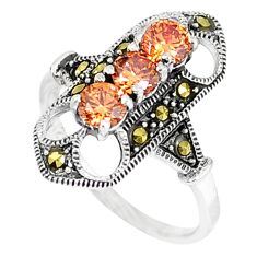 Natural champagne topaz marcasite 925 sterling silver ring size 6.5 a42473