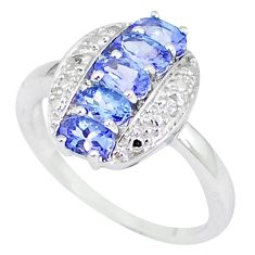 Natural white diamond blue tanzanite 925 sterling silver ring size 7.5 a47451