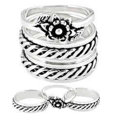Indonesian bali style solid 925 silver stackable band 3 rings size 6 a47805