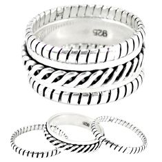 925 silver indonesian bali style solid stackable band 3 rings size 8 a47812