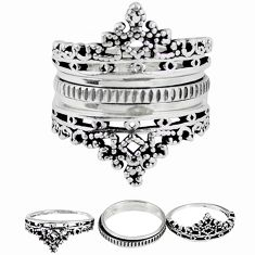 Indonesian bali style solid 925 silver stackable band 3 rings size 9.5 a47817