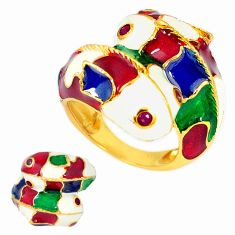 Handmade thai natural red ruby 925 silver 14k gold dolphin ring size 6 a48401
