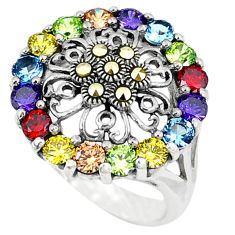 Natural champagne topaz garnet topaz marcasite 925 silver ring size 6.5 a51159