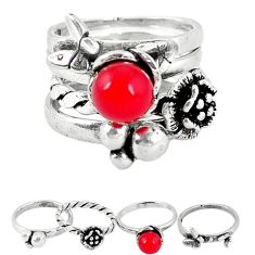Red coral 925 sterling silver stackable 4 band ring jewelry size 5.5 a52106