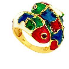 Handmade natural garnet amethyst 925 silver gold fish thai ring size 7 a53314
