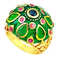 Handmade natural emerald sapphire 925 silver gold thai ring size 8.5 a53315