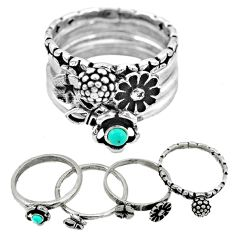 Fine blue turquoise 925 sterling silver stackable 4 band ring size 7.5 a53520