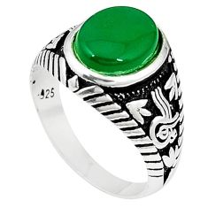 Natural green chalcedony 925 sterling silver mens ring size 12 a54102