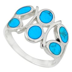 Fine blue turquoise enamel 925 sterling silver ring jewelry size 8 a55034