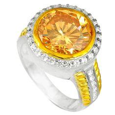 Champagne topaz white topaz 925 silver 14k gold ring size 9.5 a60116
