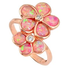 2.21cts pink australian opal (lab) 925 silver 14k rose gold ring size 7.5 a61915