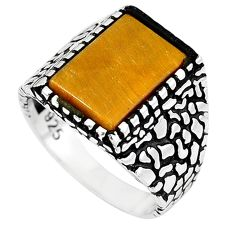 Natural brown tiger's eye 925 sterling silver mens ring size 10 a62203