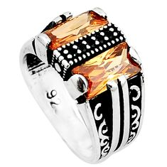 Natural champagne topaz onyx 925 sterling silver mens ring size 7.5 a63715