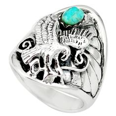 Green arizona mohave turquoise 925 sterling silver ring size 8 a64546