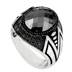 Natural black onyx topaz 925 sterling silver mens ring size 8.5 a69288