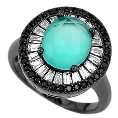 925 silver natural aqua chalcedony topaz black rhodium ring size 6.5 a71180