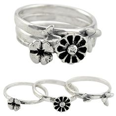 Indonesian bali style solid 925 silver flower 3 band rings size 6.5 a73216
