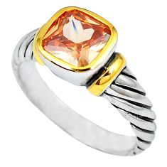 Natural champagne topaz 925 silver 14k gold mens ring jewelry size 8 b4881