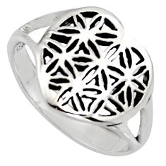 Flower of life sacred geometry 925 sterling silver heart ring size 10 c7602