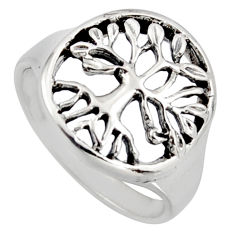 4.68gms indonesian bali solid 925 silver tree of life ring size 6.5 c7619