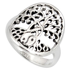 3.26gms indonesian bali style solid 925 silver tree of life ring size 7.5 c7626