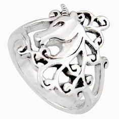 5.26gms indonesian bali style solid 925 silver horse charm ring size 7.5 c7635