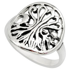 925 silver 4.02gms indonesian bali style solid tree of life ring size 7.5 c7639