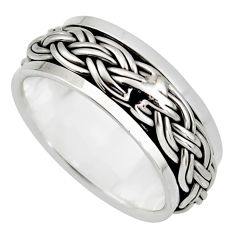 925 silver 6.89gms meditation ring bali solid spinner band ring size 8.5 c7643