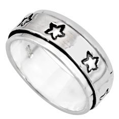 6.89gms meditation ring bali solid silver star spinner band ring size 7.5 c7646