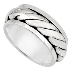 925 silver meditation ring bali solid spinner band ring size 10.5 c7647
