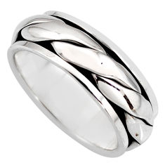 9.26gms meditation ring bali solid 925 silver spinner band ring size 7.5 c7655