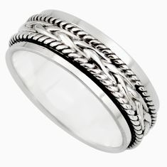 9.02gms meditation band 925 silver spinner band ring size 10.5 c7674