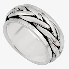 8.69gms meditation band 925 silver spinner band ring size 6.5 c7677