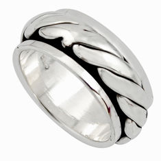 9.48gms meditation band 925 silver spinner band ring size 7.5 c7679