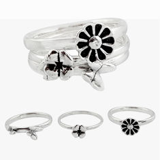 5.06gms stackable charm rings 925 silver flower 3 rings size 5.5 c7689
