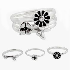 6.58gms stackable charm rings 925 silver flower 3 rings size 5.5 c7691
