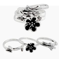 6.02gms stackable charm rings 925 silver flower 3 rings size 5 c7693