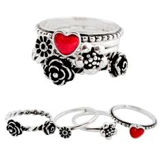 Stackable charm coral enamel 925 silver heart 4 rings jewelry size 7.5 c7695