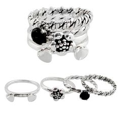 Stackable charm onyx 925 sterling silver flower 4 rings size 5.5 c7696