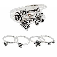 Stackable charm white topaz 925 sterling silver flower 4 rings size 5.5 c7698