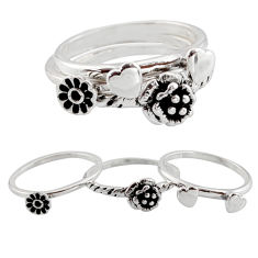 6.89gms stackable charm rings 925 silver flower 3 rings size 8.5 c7699