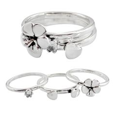 925 sterling silver stackable charm white topaz flower 3 rings size 6.5 c7700