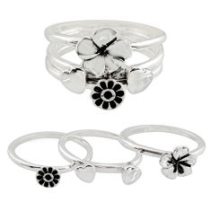 6.89gms stackable charm rings 925 silver flower 3 rings size 7.5 c7703