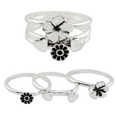 6.69gms stackable charm rings 925 silver flower 3 rings size 6.5 c7705