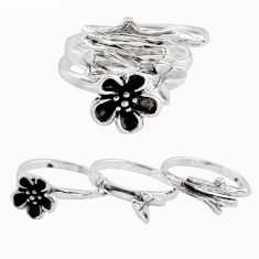 6.26gms stackable charm rings 925 silver flower 3 rings size 5.5 c7707
