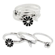 6.03gms stackable charm rings 925 silver flower 3 rings size 6.5 c7711